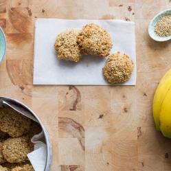 galletas de plátano, avena y coco